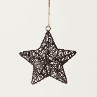 Baumanhänger 'Stern' aus Draht, antik-braun