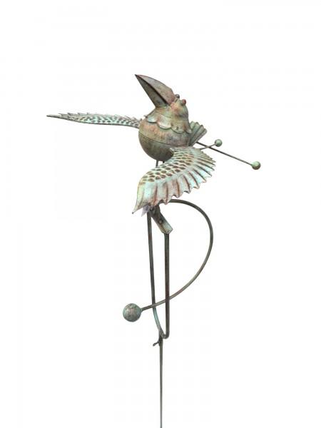 "Windpendler ""Vogel Toni"", rostbraun, L 40 cm, B 40 cm, H 140 cm"