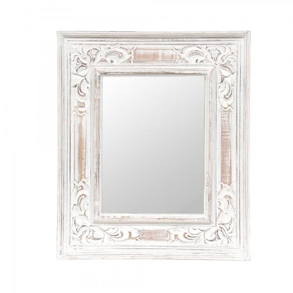 Spiegel 'Ornament', weiß gekälkt, T 3 cm, B 52 cm, H 62 cm