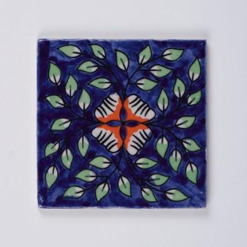 Handbemalter Keramikuntersetzer, blau, L 10 cm, B 10 cm