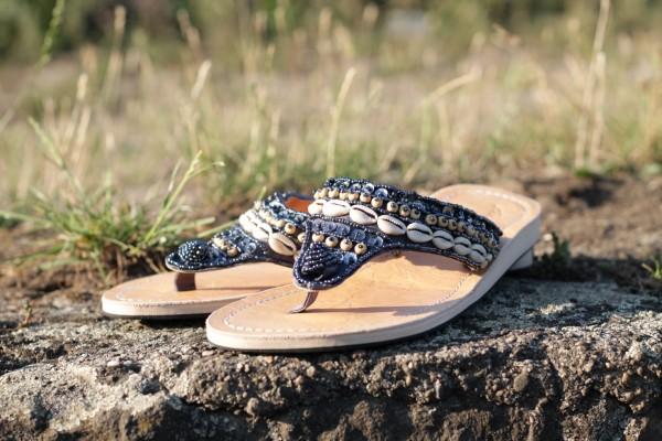 Sandalen Damen Muscheln Gr. 39, natur