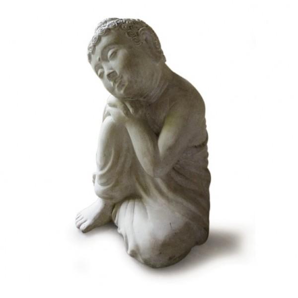 Träumender Buddha aus Ton, grau, H 42 cm