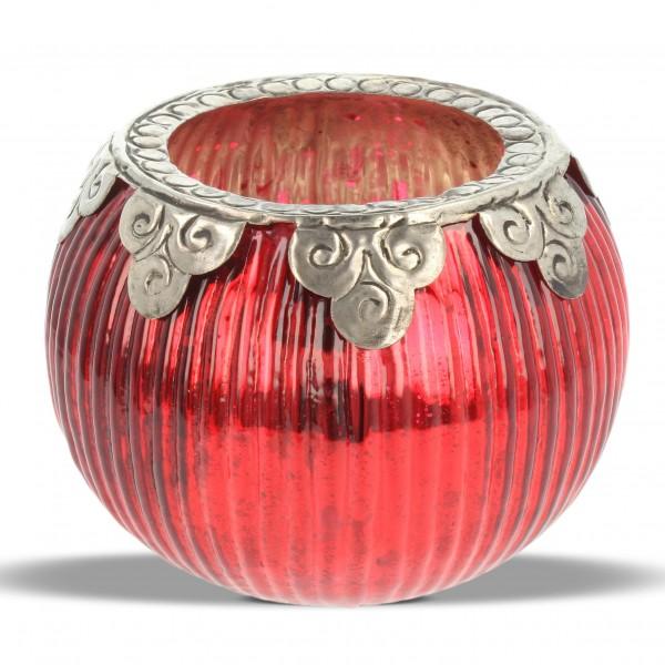 Windlicht, rot/silber, H 10 cm, Ø 12 cm