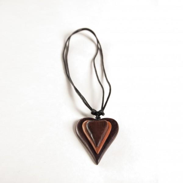 """Halskette """"Herz"""", aus Wurzelholz"""