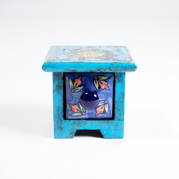 Schmucktruhe mit Schublade, blau, L 10 cm, B 10 cm, H 9 cm