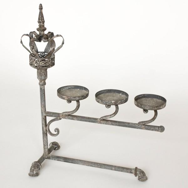 "Kerzenhalter ""Crown"", antik-grau, L 18 cm, B 29 cm, H 43 cm"