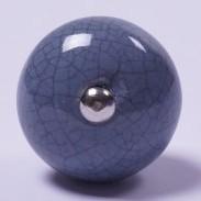 Keramik Möbelknopf, handglasiert, blau/grau, Ø 3,5 cm