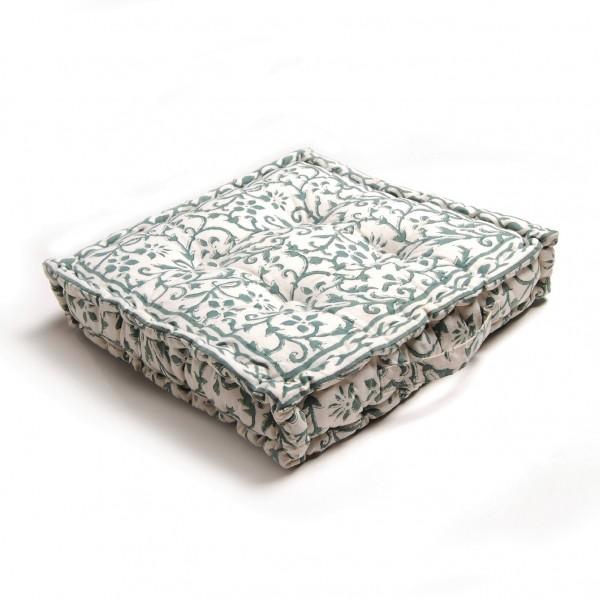 """Sitzkissen """"Faiza"""", grün/weiß, L 38 cm, B 38 cm, H 10 cm"""