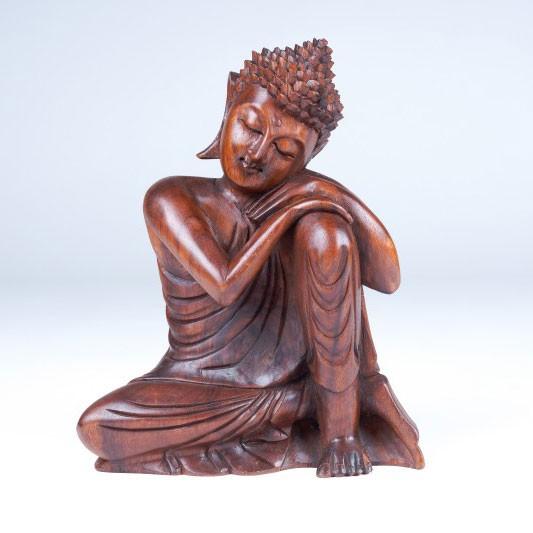 Handgeschnitzte Buddhafigur sitzend, B 25 cm, H 32 cm