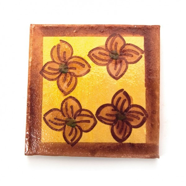 "Fliese ""Fleur Orange"", gelb/braun, L 10 cm, B 10 cm, H 1 cm"