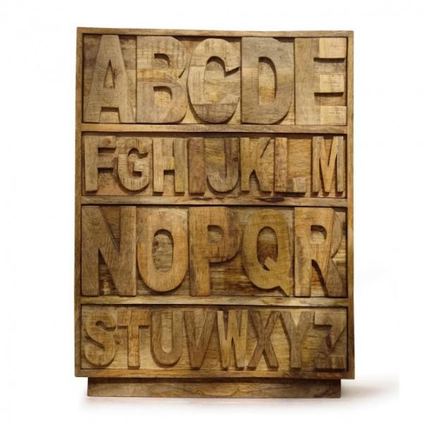 """Schubladenkommode """"A bis Z"""" aus Mangoholz, L 40 cm, B 70 cm, H 90 cm"""