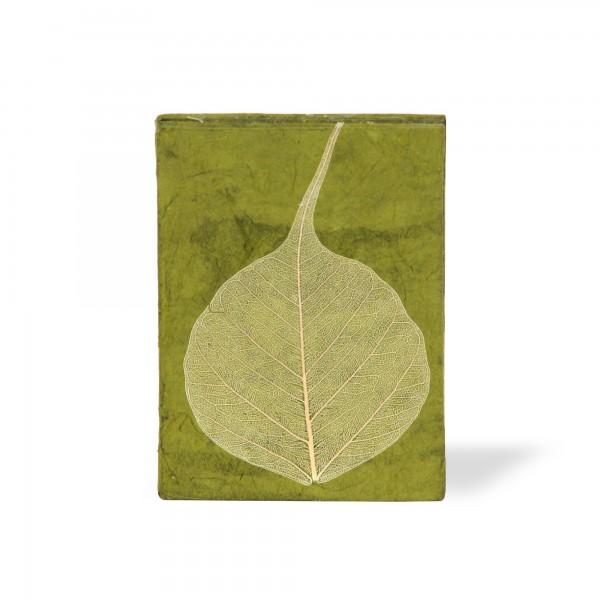 Notizbuch 'Blatt', grün, T 7,5 cm, B 5,5 cm, H 1 cm