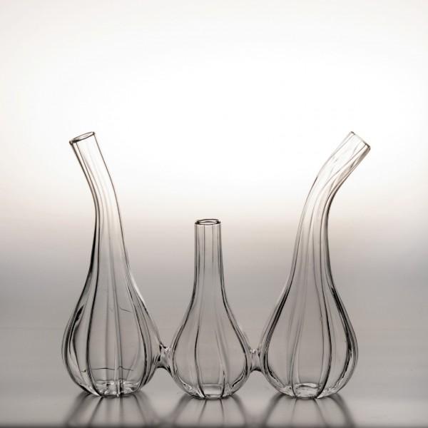 3er Glasvase 'Esbjerg', T 6 cm, B 18 cm, H 16 cm