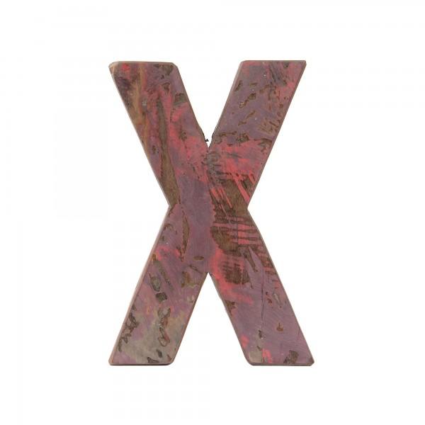 Holzbuchstabe 'X', mehrfarbig, T 2,5 cm, B 13 cm, H 19 cm