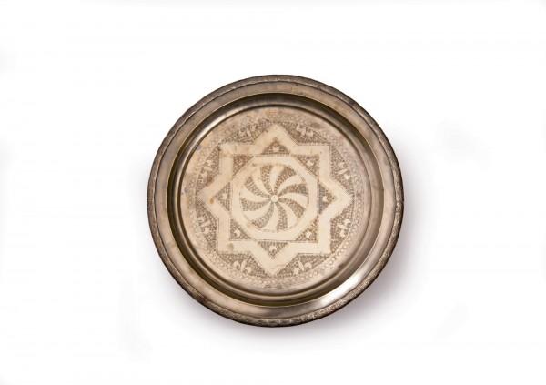 altes Tablett versilbert mit Füßen, silber, Ø ca. 45 cm