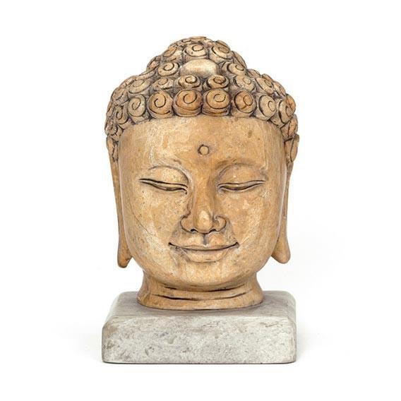 Buddhakopf aus Stein, antik-weiß, L 9 cm, B 9 cm, H 15 cm