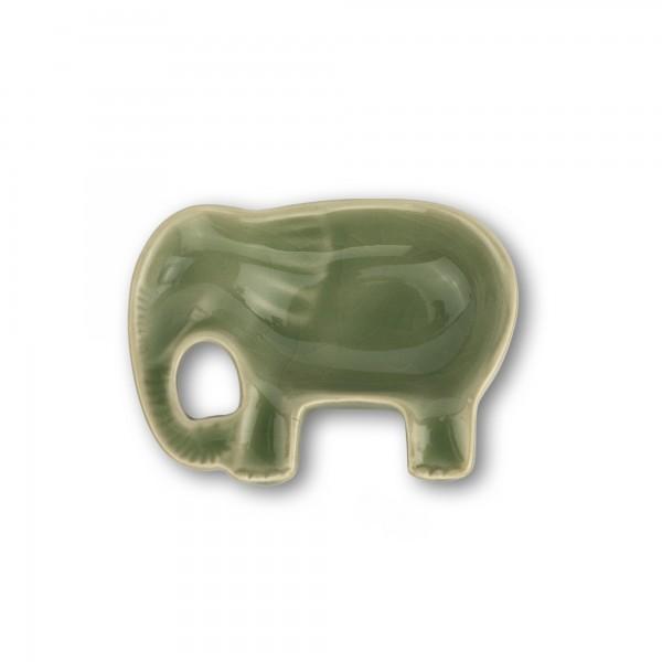 Schale 'Elefant', grün, T 7 cm, B 9 cm, H 2,5 cm