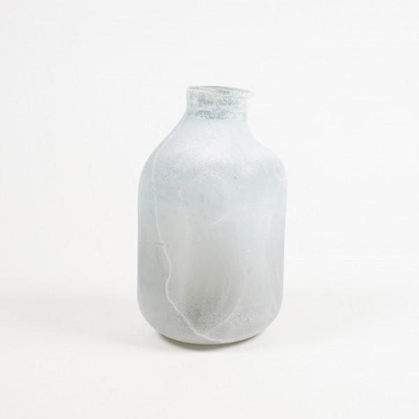 Glasvase gefrostet, grau, Ø 19 cm, H 31 cm