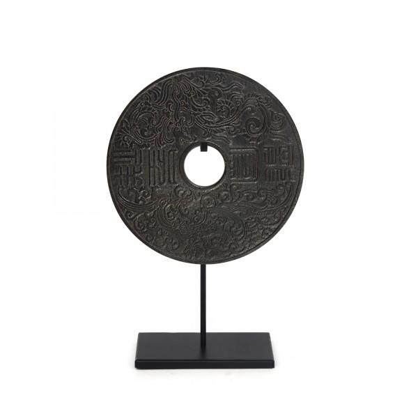 Jade Münzen auf Ständer, natur, T 30 cm, B 30 cm, H 42 cm