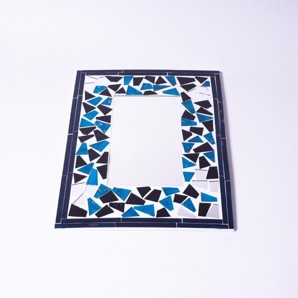 Glasmosaikspiegel, blau, B 30 cm, H 40 cm