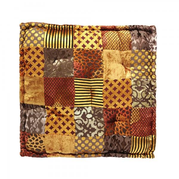 Sitzkissen Patchwork, gold, rost, T 60 cm, B 60 cm, H 10 cm