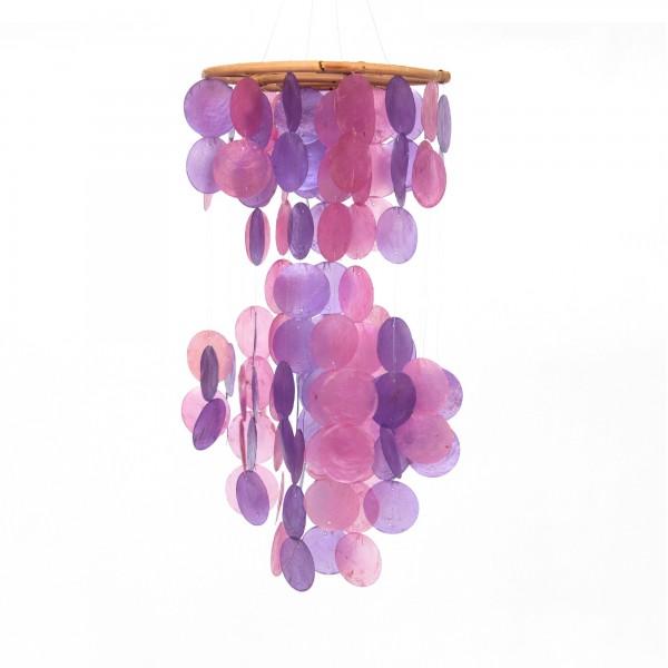 Windspiel aus Bali, violett, Ø 23 cm, H 48 cm