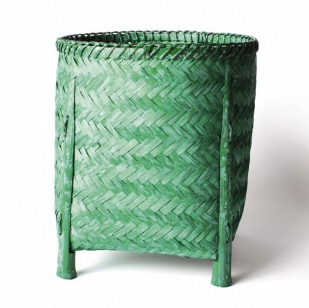 Wäschekorb aus Bambus M, grün, Ø 27 cm, H 30 cm