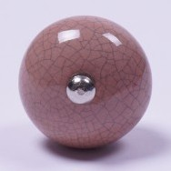 Keramik Möbelknopf, handglasiert, altrosa, Ø 3,5 cm
