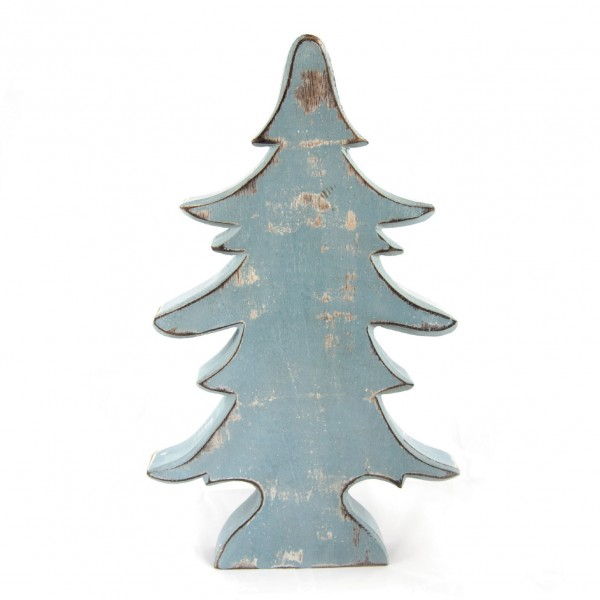 "Dekotanne ""Karlsbad"" aus Holz, eisblau, B 27 cm, H 45 cm"