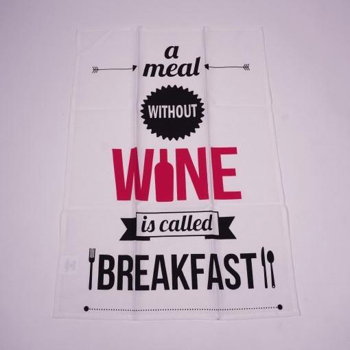 """Geschirrtuch """"No wine"""", aus 100% Baumwolle, L 70 cm, B 50 cm"""