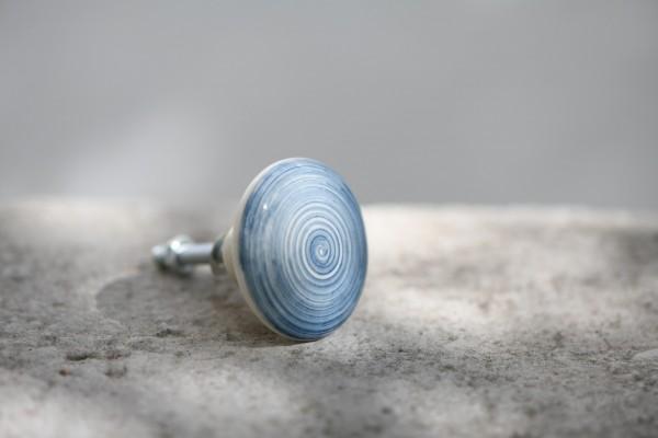 Keramik-Knauf 'Strudel', blau, beige, T 4 cm, B 4 cm, H 2,5 cm