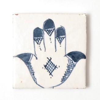 handglasierte Kachel 'fatima', blau/weiß, L 10 cm, B 10 cm, H 1 cm