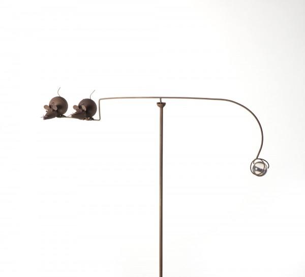"""Windspiel """"Mäuse-Duo"""", rostbraun, B 77 cm, H 124 cm"""