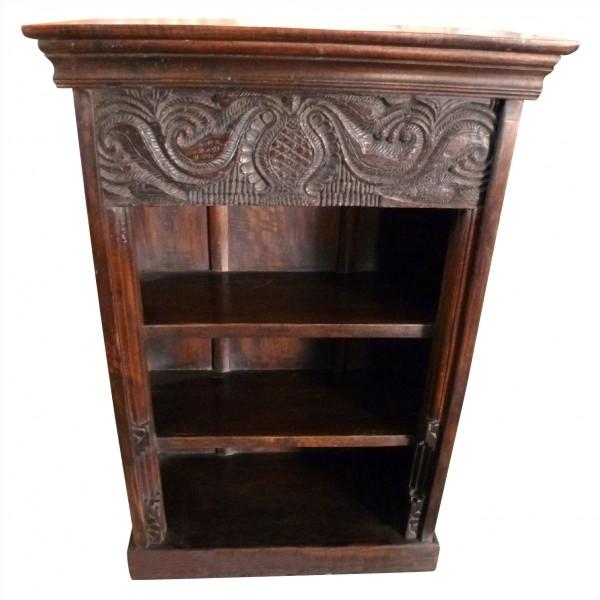 Bücherregal mit alten Schnitzereien, braun, L 35 cm, B 66 cm, H 96 cm