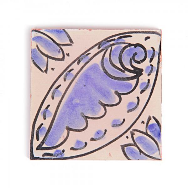 Fliese 'Coquillage', blau/weiß, L 10 cm, B 10 cm