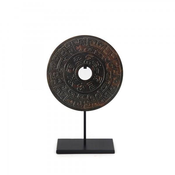 Jade Münzen auf Ständer, natur, T 20 cm, B 20 cm, H 31 cm