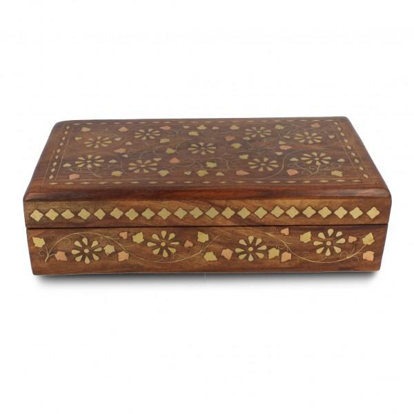 Holztruhe mit Messingintarsien, braun, L 12,5 cm, B 23 cm, H 6 cm