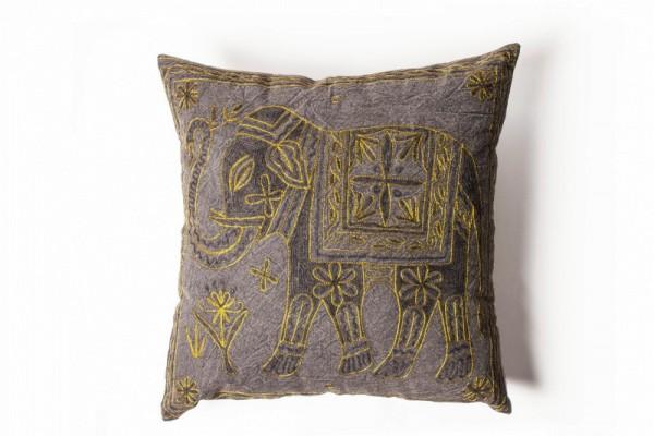 Kissenhülle 'Elefant', lila, gold, L 60 cm, B 60 cm