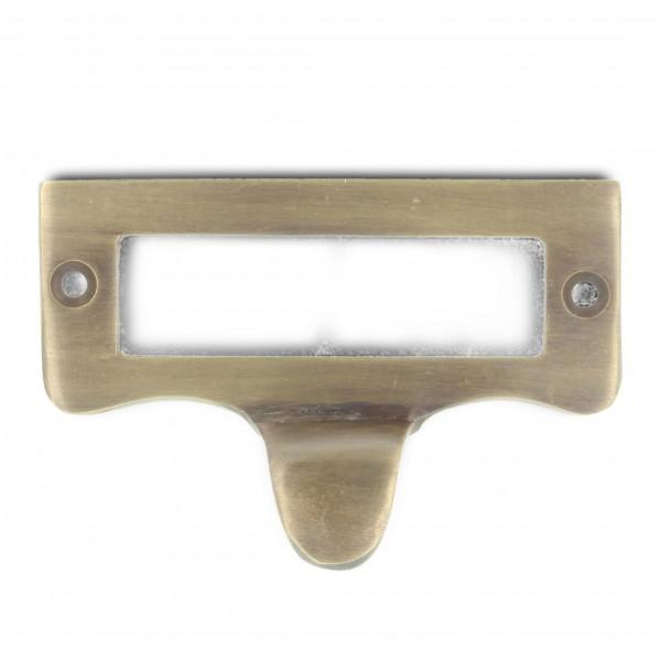 Schild mit Griff, kupfer, B 7 cm, H 4,5 cm