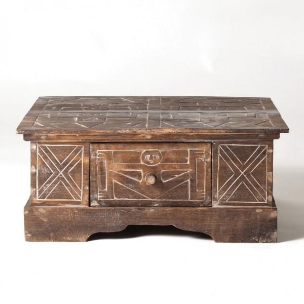Couchtisch 'Primitif' mit Schublade, braun, L 60 cm, B 60 cm, H 27 cm