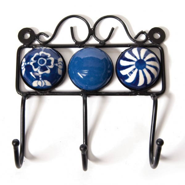 Wandhaken 3fach, blau/weiß, L 4,5 cm, B 14,5 cm, H 15 cm