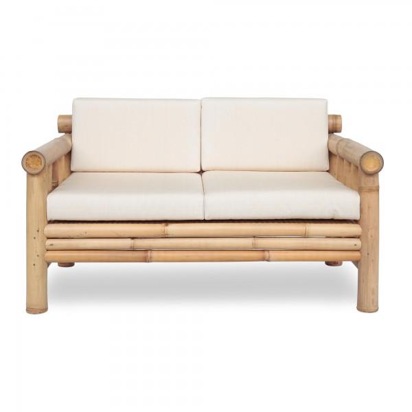 Bambusbank 'Susila', 2-Sitzer mit weißen Polstern, natur, L 85 cm, B 140 cm, H 80 cm