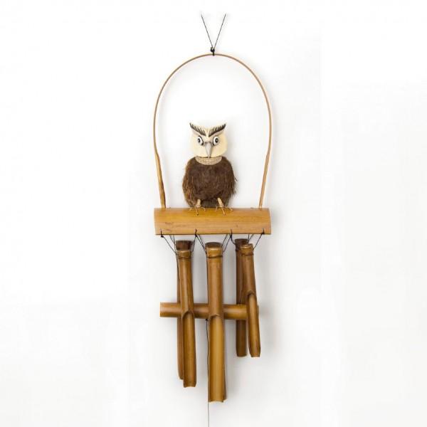 """Windspiel """"Eule"""" aus Bambus und Kokosholz, natur/braun, B 23 cm, H 60 cm"""