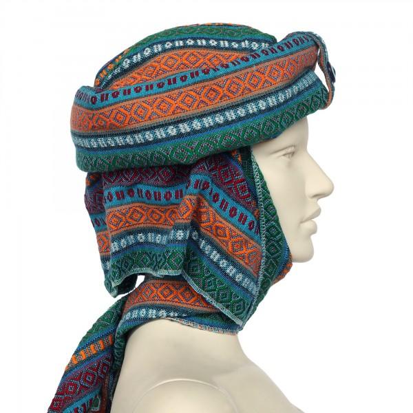 Turban 'Kelim', blau, grün, T 100 cm, B 30 cm, H 25 cm
