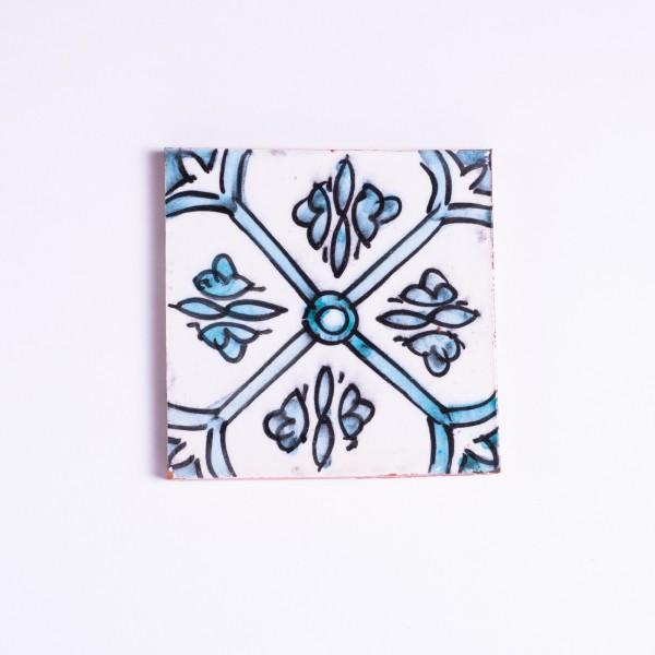 Fliese 'fenetre bleu', blau/weiß, L 10 cm, B 10 cm, H 1 cm