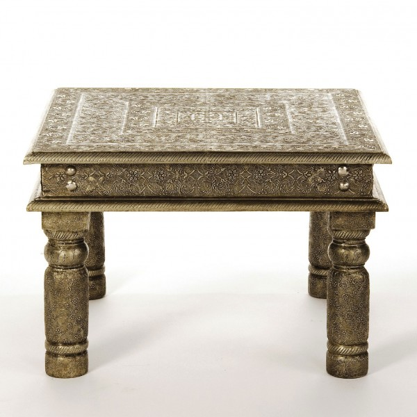 Metallbeschlagener Tisch, silber, L 60 cm, B 60 cm, H 40 cm