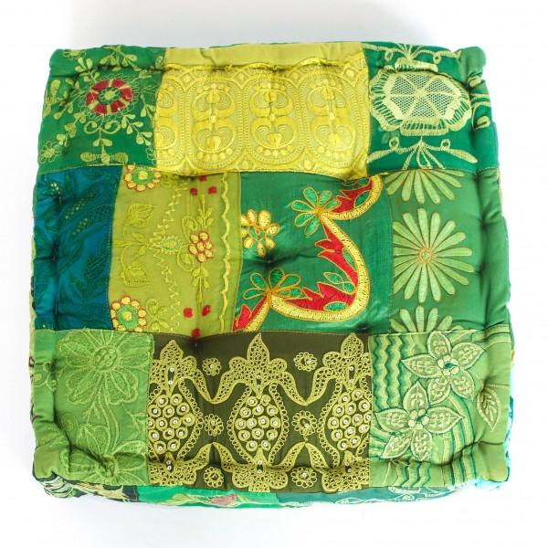 "Sitzkissen ""Sari"", grün, L 40 cm, B 40 cm, H 10 cm"