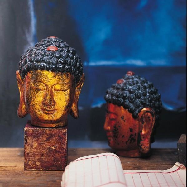 Buddhakopf aus Holz, kupfer/schwarz, H 17 cm