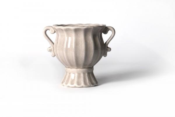 """Pflanztopf """"Antik"""", aus Steingut, beige, Ø 18 cm, H 15 cm"""