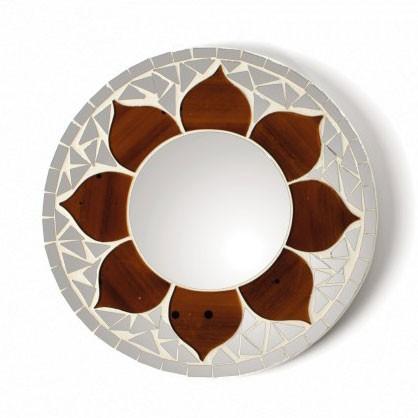 """Mosaik-Spiegel """"Lotus"""", weiß/braun, Ø 20 cm"""
